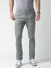 Mast & Harbour Grey Casual Slim Fit Trousers