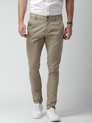 Mast & Harbour Khaki Tapered Fit Trousers