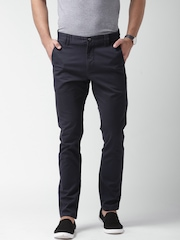Mast & Harbour Navy Slim Fit Chino Trousers