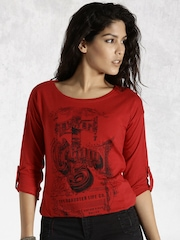 Roadster Red Printed T-shirt