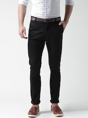 Mast & Harbour Black Slim Fit Casual Trousers