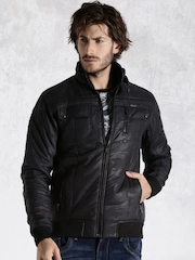 Roadster Black Printed Padded Jacket