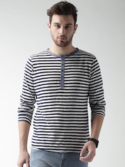 Mast & Harbour Blue & White Striped Henley T-shirt
