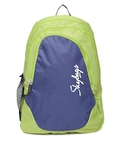 Skybags Unisex Navy & Green Groove Backpack
