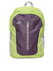 Skybags Unisex Green & Burgundy Textured Backpack