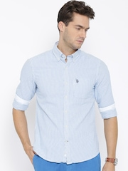U.S. Polo Assn. White & Blue Striped Tailored Casual Shirt