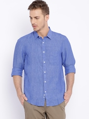 Indian Terrain Blue Linen Slim Fit Casual Shirt