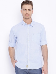 Indian Terrain Blue Striped Slim Fit Casual Shirt