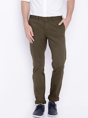 Indian Terrain Brown Brooklyn Low-Rise Slim Trousers