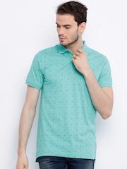 Indian Terrain Green Printed Polo T-shirt