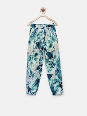 Giny & Jony Girls Teal Green & Navy Printed Trousers