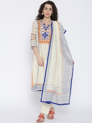 BIBA Cream-Coloured Applique Work Salwar Suit