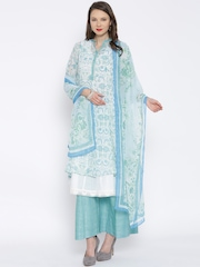 BIBA White & Green Printed A-Line Kurta with Palazzo Trousers & Dupatta