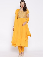 BIBA Yellow Polyester Embroidered Anarkali Churidar Kurta with Dupatta