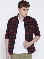 Numero Uno Maroon Checked Slim Casual Shirt