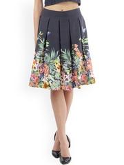 Lemon Chillo Navy Blue Printed Flared Skirt