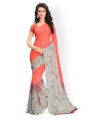 Vaamsi Orange Chiffon Printed Saree