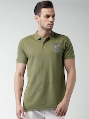 INDICODE Olive Green Printed Polo T-shirt