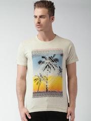 INDICODE Beige Melange Printed T-shirt