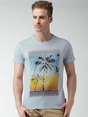 INDICODE Blue Melange Printed T-shirt