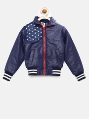 YK Boys Navy Printed Quilted Jacket