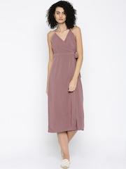 FOREVER 21 Mauve Halter-Neck Midi Dress