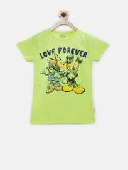 Disney Girls Lime Green Printed T-shirt