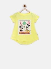 Disney Girls Yellow Printed T-shirt