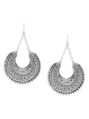 FOREVER 21 Oxidised Silver-Toned Textured Drop Earrings