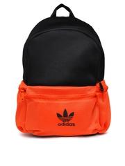 Adidas Unisex Black & Orange BBALL Backpack