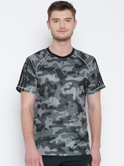 Adidas Grey Base 3S Polyester Printed Training T-shirt