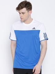 Adidas Blue Club Colourblocked Polyester T-shirt