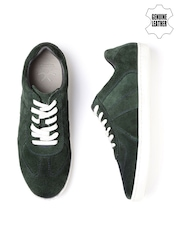 WROGN Men Olive Green Suede Casual Shoes