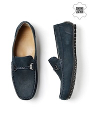 WROGN Men Navy Genuine Leather Loafers
