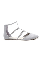 FOREVER 21 Women Grey Strappy Pointy Flats