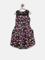 612 League Girls Black Floral Print Fit & Flare Dress