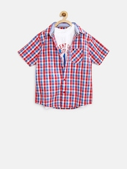 612 League Boys Red & White Gingham Checked Clothing Set