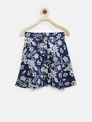 Juniors by Lifestyle Girls Navy Floral Print Skirt