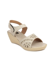 Shoetopia Women Cream-Coloured Wedges
