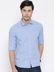 Flying Machine Blue Printed Casual Shirt