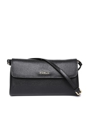Furla Black Textured Leather Clutch with Sling Strap