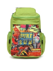 Kanvas Katha Women Green Printed Laptop Backpack