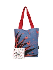 Kanvas Katha Women Blue Printed Tote Bag with Pouch