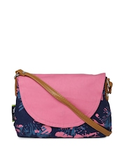 Kanvas Katha Navy & Pink Printed Sling Bag with Pouch