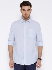 Fox Blue Striped Smart Casual Shirt