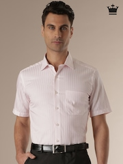 Louis Philippe White Striped Classic Fit Formal Shirt