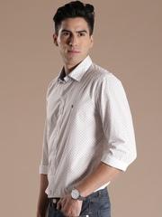 Louis Philippe Sport White Printed Union SQ Slim Casual Shirt