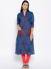 Shree Blue Printed Kurta with Embroidered Detail