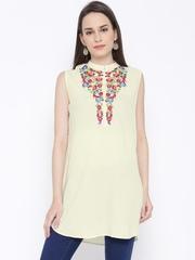 Shree Cream-Coloured Floral Embroidered A-Line Kurti