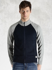 Roadster Navy & Grey Melange Colourblock Sweater